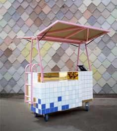 At London's Southbank Centre, near the beautiful Appearing Rooms Fountain, How About Studio built an artistic installation considered to be a mobile shop. Kiosk Design, Signage Design, Booth Design, Retail Design, Store Design, Corporate Design, Design Design, Display Design, Design Shop