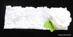 faixa em elastano com flor em feltro