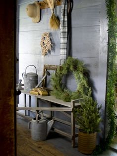 Farmhouse Entryway Holiday Vignette | from Matthew Mead's Holiday (2012 Oxmoor House) | House & Home