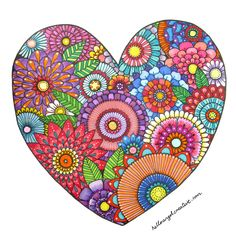 Floral heart illustration - Great site with lots of colourful illustrations to get inspired