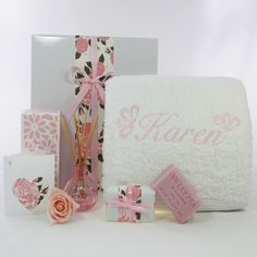 Luxurious Personalised Egyptian cotton bath towel with sweet pea bath soap and room diffuser beautifully gift boxed. Bath Soap, Bath Towels, Room Diffuser, Baby Hamper, Personalized Baby Blankets, Gift Hampers, Egyptian Cotton, Baby Gifts, Place Card Holders