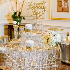 Elegant and glamorous with gold accents, this champagne bar also exudes a touch of whimsy with a scripted sign and glasses full of bubble wands for the double entendre. Wedding Brunch Reception, Hotel Wedding, Budget Wedding, Plan Your Wedding, Wedding Venues, Wedding Ideas, Wedding Signs, Wedding Inspiration, 2017 Wedding