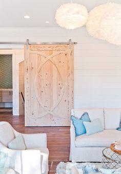 House of Turquoise: Dove Studio Stain the door gray wash House Of Turquoise, Sliding Door Hardware, Sliding Doors, Sliding Wall, Interior Barn Doors, Home Interior, Interior Modern, Modern Exterior, Making Barn Doors