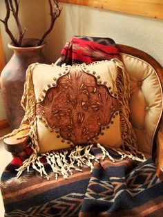 Western style handcrafted leather pillow from Stargazer Mercantile, $325.00.