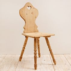 Pine Tyrolean Chair with Carved Back and Turned Legs Austria c.