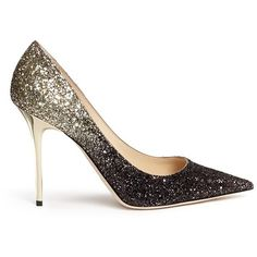 Jimmy Choo 'Abel' coarse glitter pumps (€650) ❤ liked on Polyvore featuring shoes, pumps, heels, metallic, jimmy choo pumps, glitter shoes, metallic pumps, glitter heel shoes and jimmy choo shoes