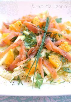 Salade de fenouil, orange et truite fumée Veggie Recipes, Great Recipes, Salad Recipes, Cooking Recipes, Healthy Recipes, Quinoa Salat, My Best Recipe, Going Vegan, Fresco