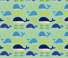 Big Fish, Little Fish fabric by jenimp on Spoonflower - custom fabric- kids bathroom wallpaper Little Fish, Big Fish, Fish Wallpaper, Bathroom Wallpaper, Ocean Fabric, Quilt Baby, Animal Decor, Home Decor Fabric, Creative Thinking