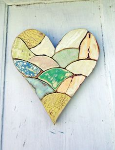 Wood Mosaic Heart Reclaimed Wood Art Pastel Wooden by woodenaht, $48.00