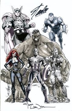 a Marvel's the Avengers (MCU Team) Jam-Commission! -Humberto Ramos illustrated the Hulk and did the layout sketch for the whole PinUp. -J. Scott Campbell illustrated the Black Widow. -Arthur Adams illustrated Thor. -Jim Cheung illustrated Iron Man. -David Finch illustrated Hawkeye. -Steve Epting illustrated Captain America. -the owner got both Stan Lee and Joss Whedon to sign the finished piece as well.