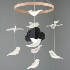 Bird Mobile - White Birds with Dark Cloud - Felt Mobile - Baby Mobile - Modern Mobile