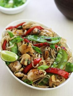 Thai lime pepper chicken stir-fry Use zucchini noodles or riced cauliflower in place of rice noodles.