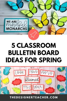 5 Classroom Bulletin Board Ideas for Spring — The Designer Teacher Rainbow Bulletin Boards, Hallway Bulletin Boards, Writing Bulletin Boards, Interactive Bulletin Boards, Spring Bulletin Boards, Teacher Blogs, Teacher Hacks, Teacher Stuff, Teachers Room