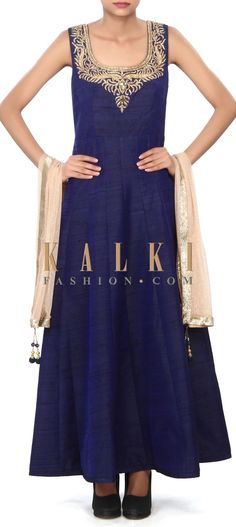 Buy Online from the link below. We ship worldwide (Free Shipping over US$100) Price- $249 Click Anywhere to Tag http://www.kalkifashion.com/navy-blue-anarkali-suit-adorn-in-embroidered-neckline-only-on-kalki-21327.html