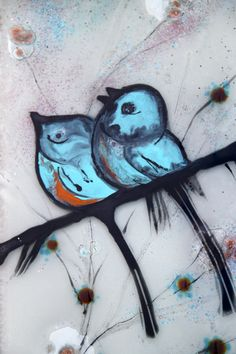 Fused glass painting  blue birds on a branch by virtulyglass, $50.00