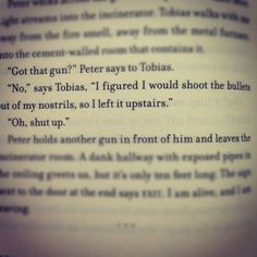 I was laughing so hard when i read this!! Gosh this is why I love Tobias Eaton :)
