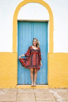 Vinis e outras coisas: Look: Vestido Estampado com Detalhe nas Costas