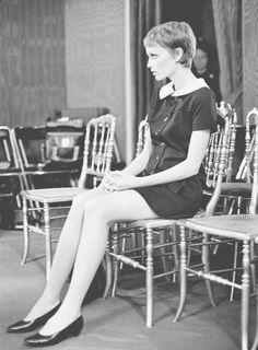 Mia Farrow & her new Vidal Sassoon haircut (cut on the set of Rosemary's Baby) at Pierre Cardin, 1967.