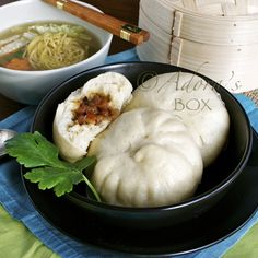 Siopao - steamed bun with meat filling. My favorite was the siopao with asado pork filling