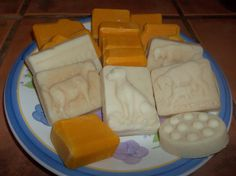 a sampling of the soaps I make, I start out with making a basic goat milk recipe and then re-batch it into molds :) Love to make soap
