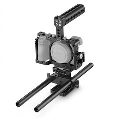 Adjustable Camera Cage Handle Camera Stabilizer with Handle for Sony A6400 A6500 A6300 A6000 with 1//4 3//8 Mounting Point and Built-in Cold Start Universal Tripod Color : Black Safe Adapter