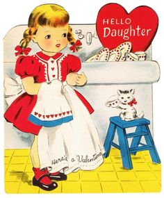 Vintage girl washing dishes with kitty cat Valentine card for daughter