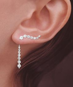 Orogem Cubic Zirconia & Sterling Silver Round-Cut Ear Pins® & Enhancers #jewelry #earrings