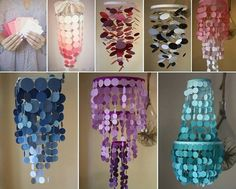 Love this #DIYchandelier idea!  All you need are paint swatches (free from Home Depot) and a paper punch. #glamdiy http://www.heygorg.com/2011/09/diy-paint-swatch-chandelier.html