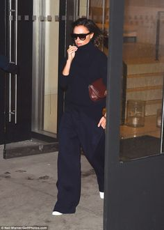That's a wrap: Victoria Beckham certainly looked ready for a storm as she stepped out in New York over the weekend