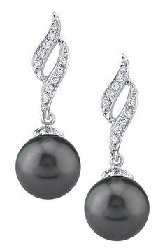 14K White Gold 9mm Tahitian South Sea Pearl Diamond Ribbon Earrings #Perles #pearls #pérolas