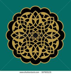 Arabic Floral Ornament. Traditional Islamic Design. Mosque decoration element. Ocher on black background