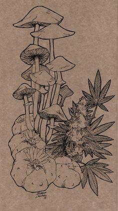 Handmade Notebooks Covers is part of Art tattoo - Ilustrations made for some handmade notebooks I've done Ink on thick kraft paper Mushroom Drawing, Mushroom Art, Cool Art Drawings, Art Drawings Sketches, Pretty Art, Cute Art, Mushroom Tattoos, Arte Sketchbook, Hippie Art