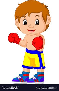 Boxing vector image on VectorStock Cartoon People, Cartoon Images, Cartoon Kids, Color Worksheets For Preschool, Activities For Kids, Transportation Theme Preschool, Speech Therapy Games, School Pictures, Kids Boxing
