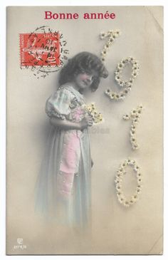 Edwardian Little Girl antique real photo postcard, Cute Girl with Flowers, Vintage 1910 New Year Child postcard, Tinted French postcard RPPC by maralecollectibles on Etsy Photo Postcards, Vintage Postcards, Vintage Photographs, Vintage Photos, Cute Girls, Little Girls, Image Theme, Girls With Flowers, Vintage Scrapbook