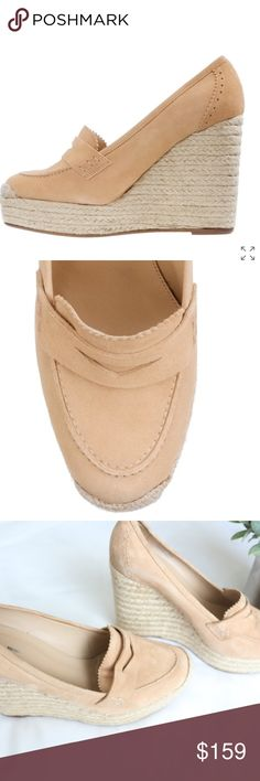 """J. Crew Tan Altuzarra Corrine espadrilles A French spin on J.Crew classics, our exclusive capsule collection created in collaboration with Joseph Altuzarra. With a nod to the chic footwear of Saint-Tropez femmes, the Paris-born designer topped off an espadrille platform sole with a suede loafer in saturated shades.  Suede upper.  Leather lining and sole.  Inner label marked thru 4 1/2"""" jute-covered heel with an exterior platform for extra comfort.  Made in Italy. Retail $345 + tax. In…"""