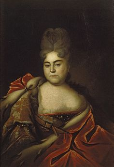 PETER THE GREAT'S sister TSAREVNA NATALYA ALEXEYEVNA  (1673 – 1716) by Ivan Nikitich Nikitin. Natalya was very close to her brother Peter and shared his love of reform, becoming a playwright when women did not do such things. She never married, sometimes served as official hostess for Peter and raised his grandson PETER II after Peter's son Alexei died.