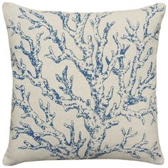 Navy Coral Hand-printed Linen 18-inch Throw Pillow