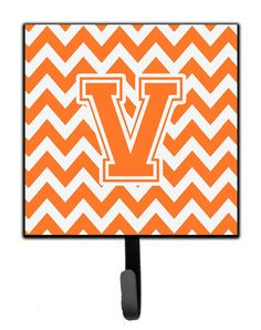 Letter V Chevron Orange and White Leash or Key Holder CJ1046-VSH4