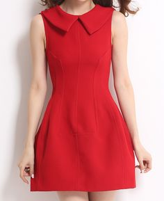 Red Baby Doll Collar Sleeve Grown Dress