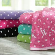 Dottie Bath Towels. Comes in Lavender <3. Again, monogrammed. PBteen dorm