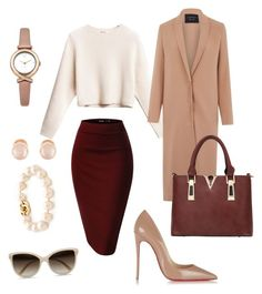 A fashion look from November 2015 featuring chunky cropped sweater, reversible coat and red bodycon skirt. Browse and shop related looks. Office Fashion, Business Fashion, Work Fashion, Modest Fashion, Fashion Looks, Fashion Outfits, Womens Fashion, Business Casual Outfits, Professional Outfits