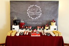 Chalkboard backdrop at a bridal shower party! See more party planning ideas at CatchMyParty.com!