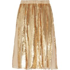 Tibi Éclair pleated sequined silk-georgette skirt ($477) ❤ liked on Polyvore featuring skirts, bottoms, gold, beige skirt, elastic waist skirt, pull on skirts, embellished skirts and knee length pleated skirt