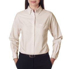 Classic Wrinkle-Free Women's Long-Sleeve Oxford Tan Shirt