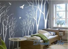 forest wall decals for nursery   wall sticker- wall decal- tree decals- wall murals art - nursery wall ...