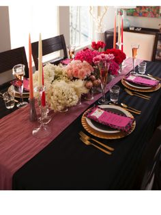 """An ombre centerpiece will be the """"Wow"""" factor you were looking for this Valentine's Day.  It's easy to accomplish by arranging each color in multiple vases to make up this gorgeous centerpiece. Chic Valentine's Day Floral Arrangements 
