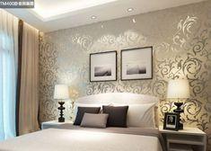 papel parede metalizado quarto