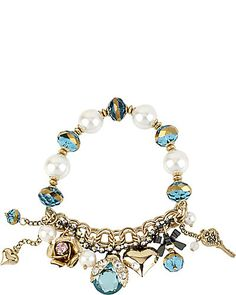 Betsey Johnson Bug Charm Stretch Bracelet Blue Purple Jewelry Fashion