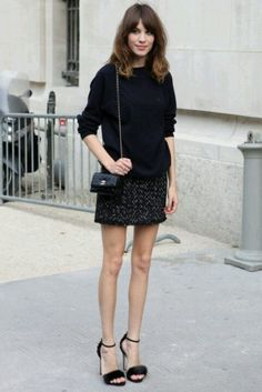 Alexa Chung in black mini dress | curated by ajaedmond.com | capsule wardrobe | minimal chic | minimalist style | minimalist fashion | minimalist wardrobe | back to basics fashion