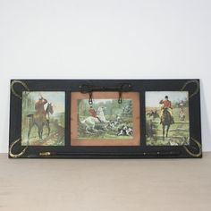 In honor of the Kentucky Derby // vintage wood frame hunting theme print / equestrian / horse riding